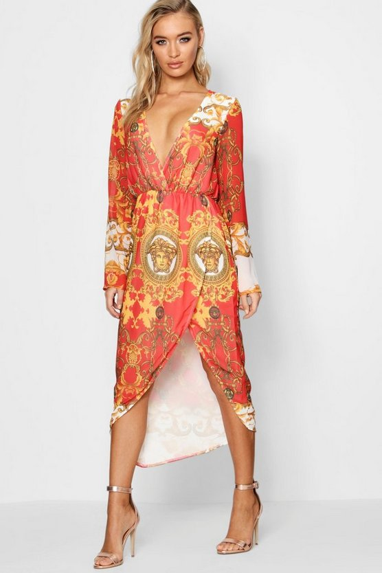 Printed Wrap Top Midi Dress