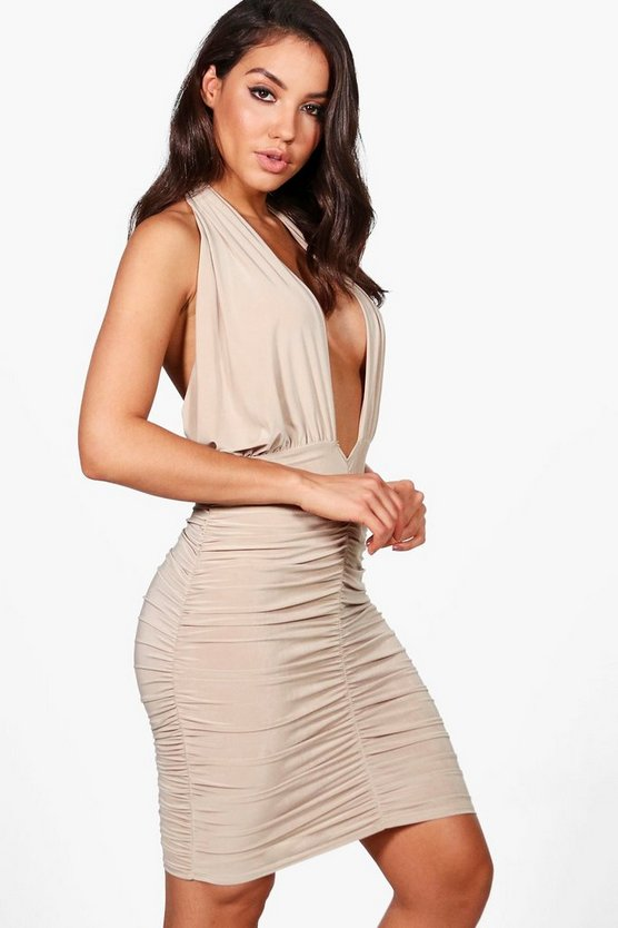 Leanne Slinky Twist Ruched Bodycon Dress