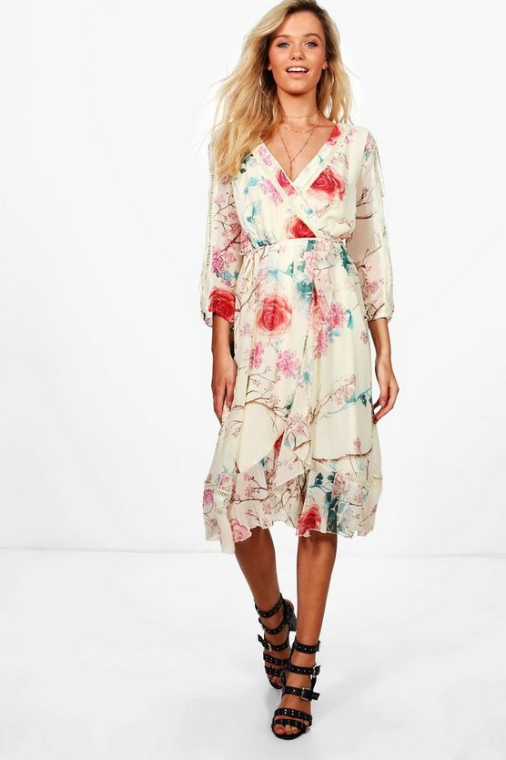 Boutique Floral Wrap Midi Dress