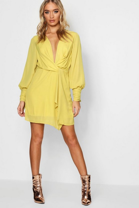 Twist Front Ruched Sleeves Shift Dress