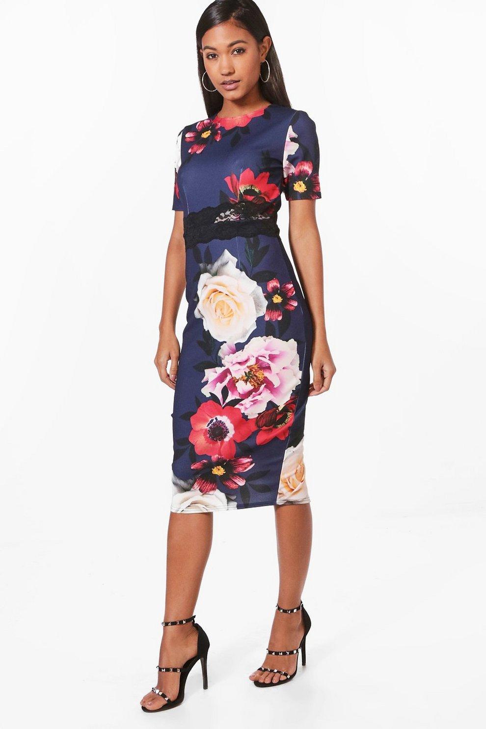 127d7b5f7fa3 Floral Print Lace Insert Midi Dress | Boohoo