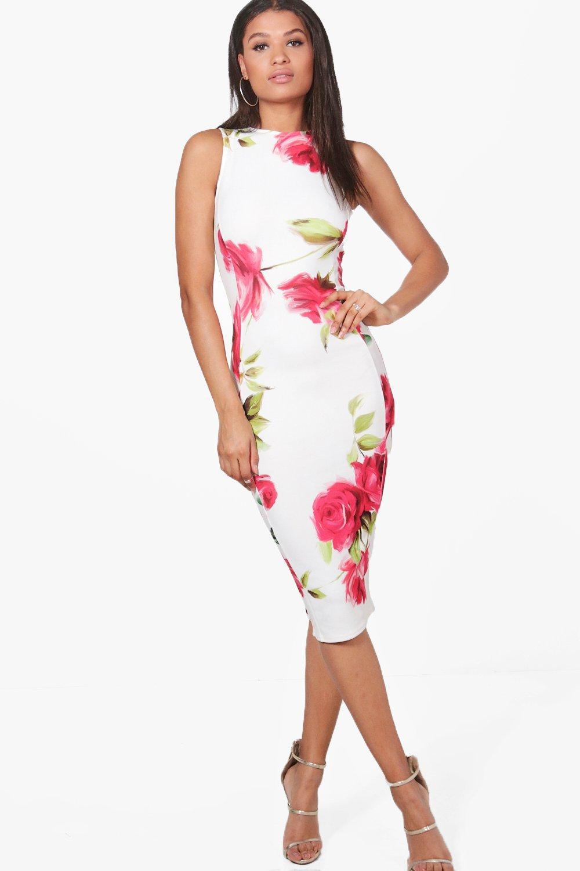 2605cd95c vestido midi sin mangas con estampado de rosas lucy