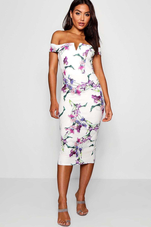 ebf60b2eb4e4 Womens Multi Floral Print Off Shoulder Midi Dress. Hover to zoom