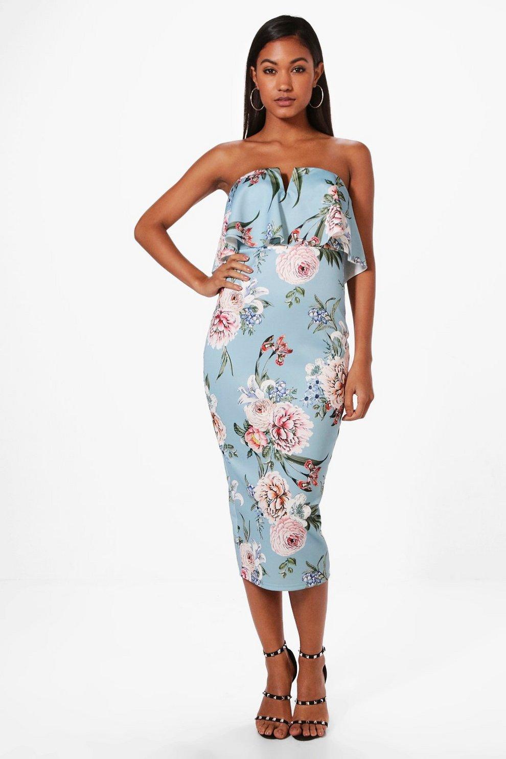 25d9560f022 Luna Floral Print Frill Bandeau Midi Dress | Boohoo