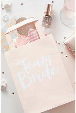 Confezione con 5 borsette regalo team bride party, Naturale