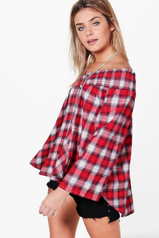 Womens Red Stella Check Shirred Bardot Swing Top