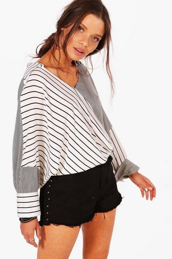 Womens Stripe Spliced Oversized Shirt