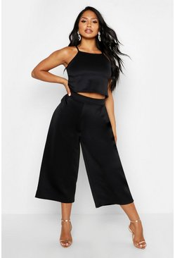Womens Black Rose Strappy Crop & Culotte Co-Ord Set