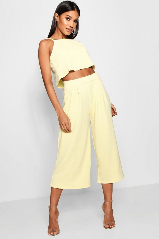 Womens Freesia Rose Strappy Crop & Culotte Co-Ord Set