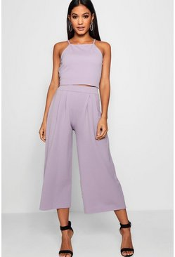 Womens Lilac Rose Strappy Crop & Culotte Co-Ord Set