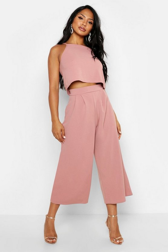 Womens Rose Strappy Crop & Culotte Co-Ord Set