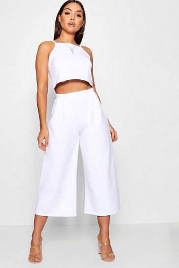 Womens White Rose Strappy Crop & Culotte Co-Ord Set
