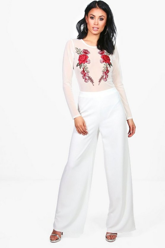 Lucie Embroidered Mesh Body & Wide Trouser Co-Ord