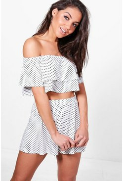 Womens Cream Polka Dot Off Shoulder Crop & Short Co-Ord