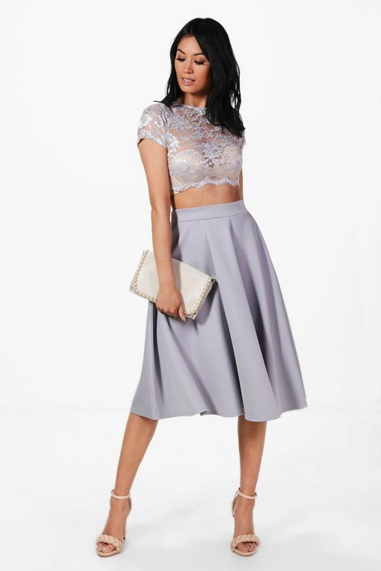 Natasha Lace Crop & Full Midi Skirt Co-Ord Set