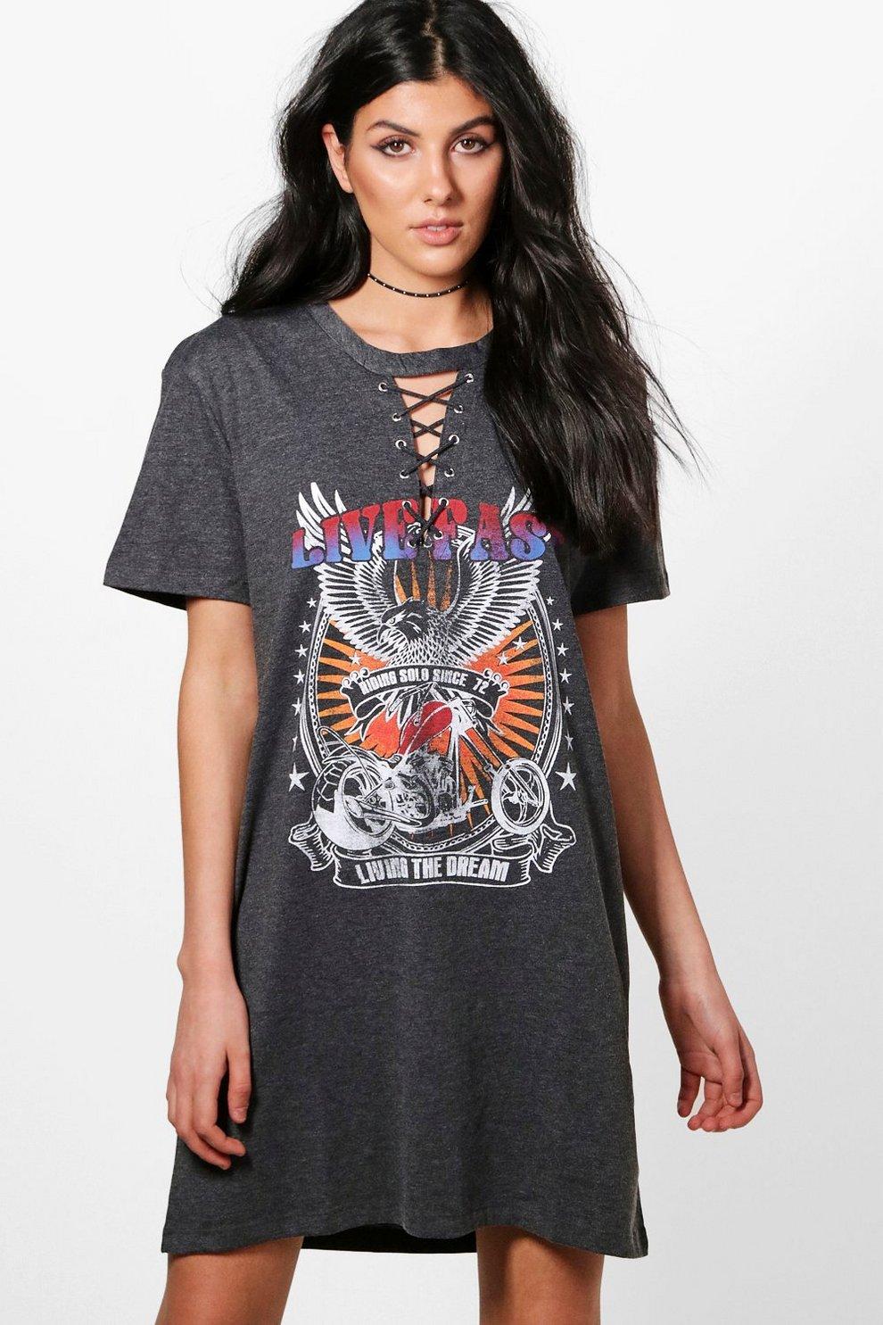 16fb767a5ff4 Freya Lace Up Choker Band T-Shirt Dress