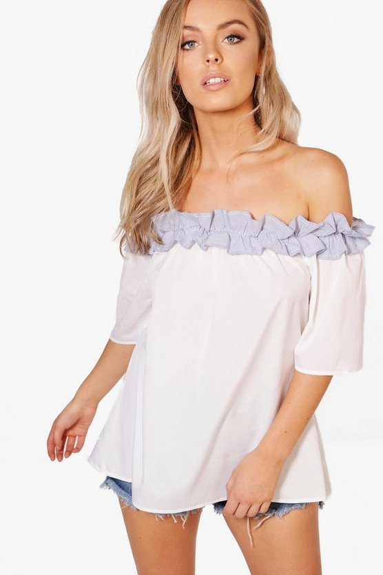 Bonnie Woven Stripe Ruffle Off The Shoulder Top