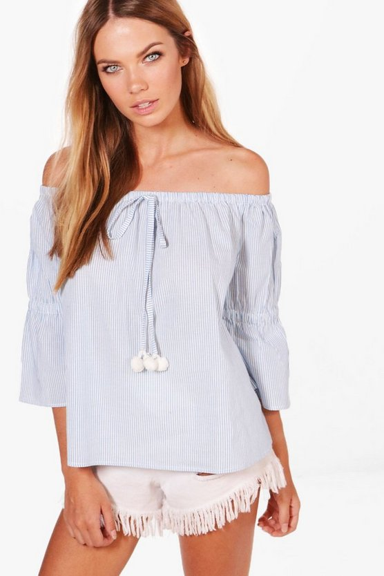 Lillian Stripe Pom Pom Trim Off The Shoulder Top