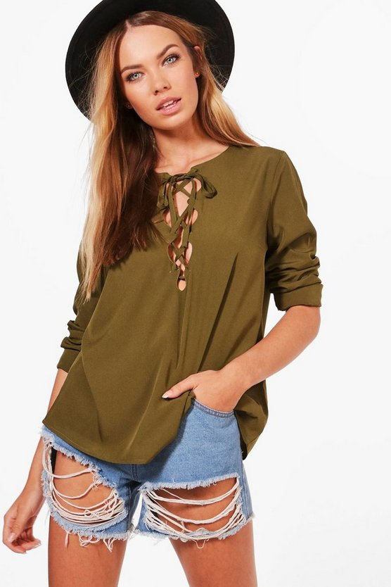 Rae Woven Open Front Lace Up Top