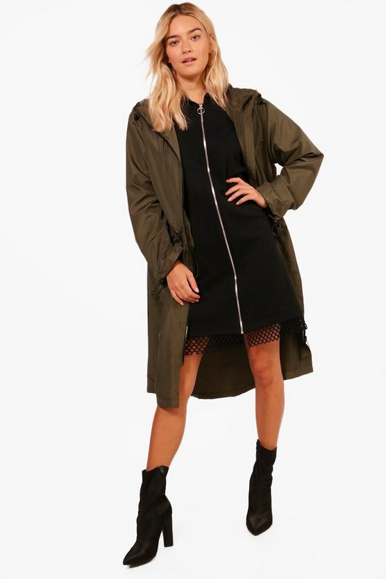 Longline Zip Through Hooded Mac