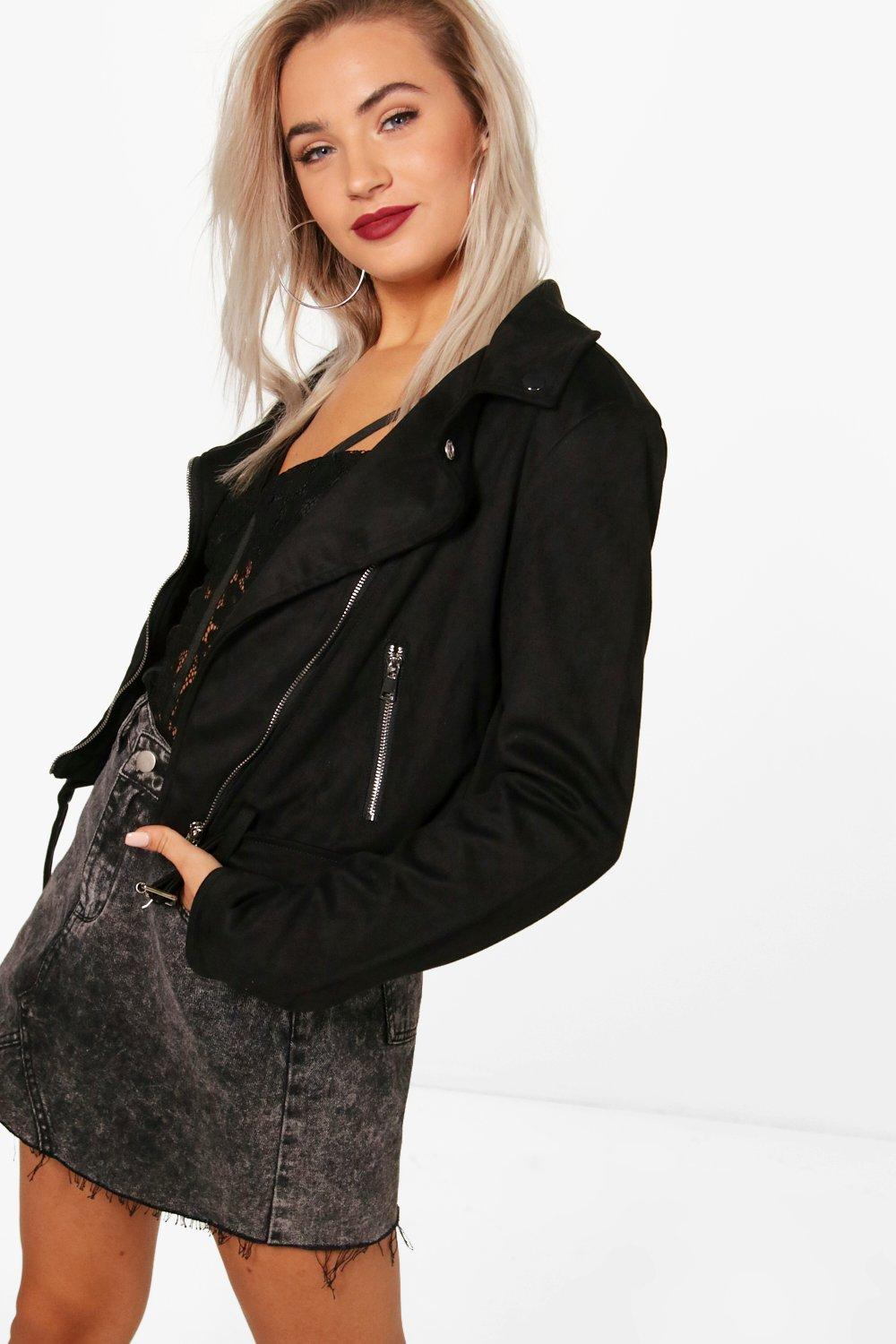boohoo damen livia kurzes g rtel bikerjacke aus. Black Bedroom Furniture Sets. Home Design Ideas