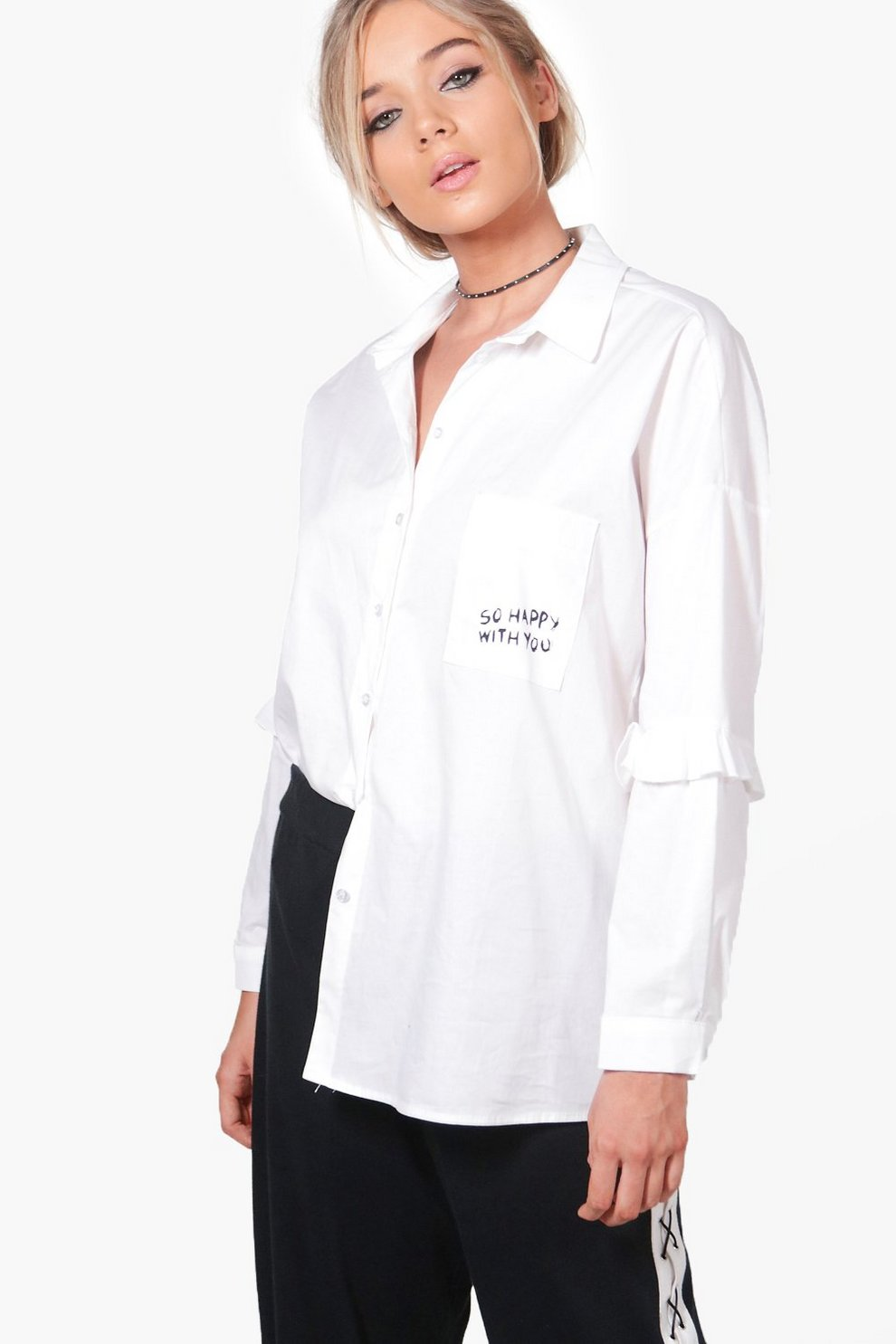 02635d2100 Isobel Slogan Pocket Oversized Shirt | Boohoo