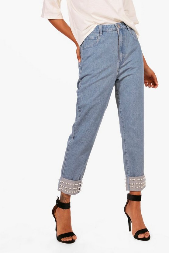 Hetty High Rise Pearl Hem Boyfriend Jeans