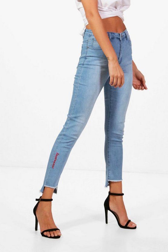 Julie High Rise Step Hem Embroidery Skinny Jeans