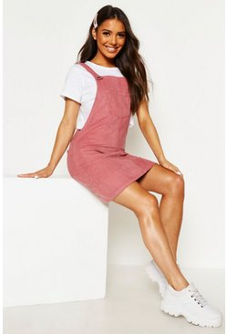 Blush Pocket Front Cord Pinafore Dress