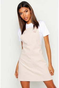 Womens Ecru Pocket Front Cord Pinafore Dress