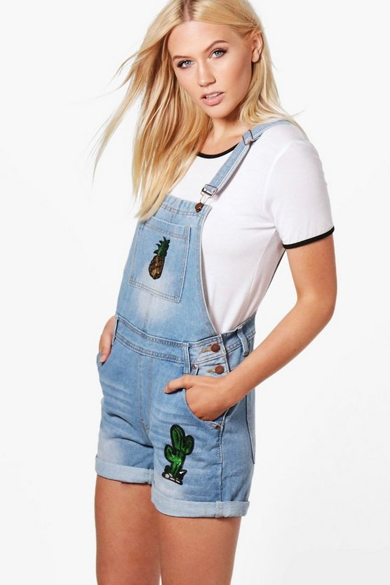 Carmen Cactus and Pineapple Denim Dungaree Shorts