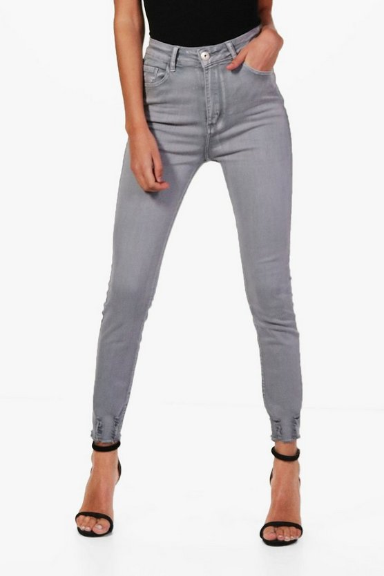 High Waist Distressed Ankle Skinny Jeans