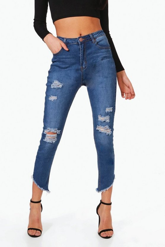 Casey Cut Hem Distressed Skinny Jeans