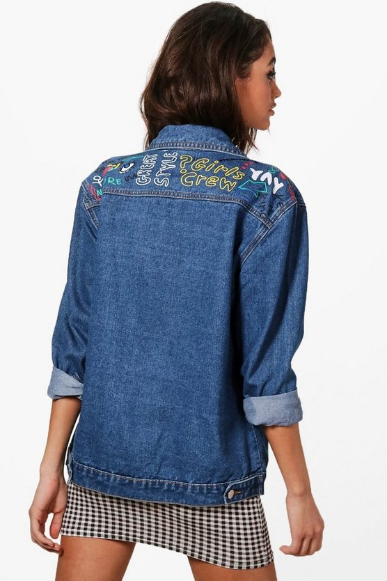Oversized Graffiti Print Denim Jacket