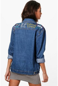 Womens Mid blue Oversized Graffiti Print Denim Jacket