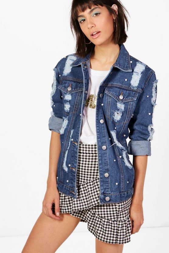 Jodie Oversize Pearl Detail Denim Jacket