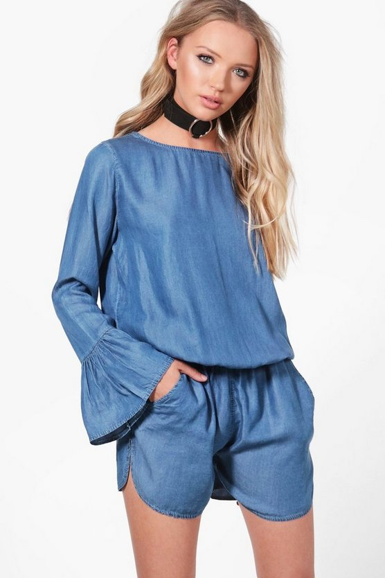 Jenni Flare Sleeve Denim Playsuit