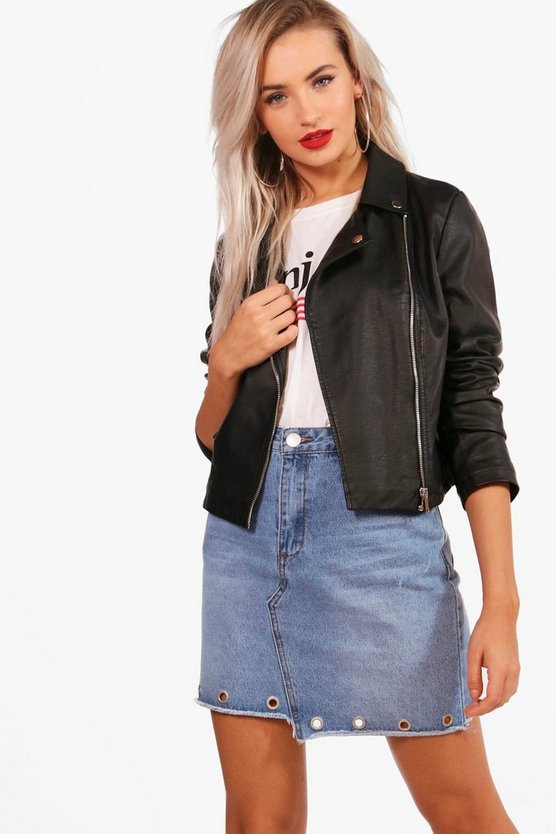 Zoe Vegan Leather Biker Jacket