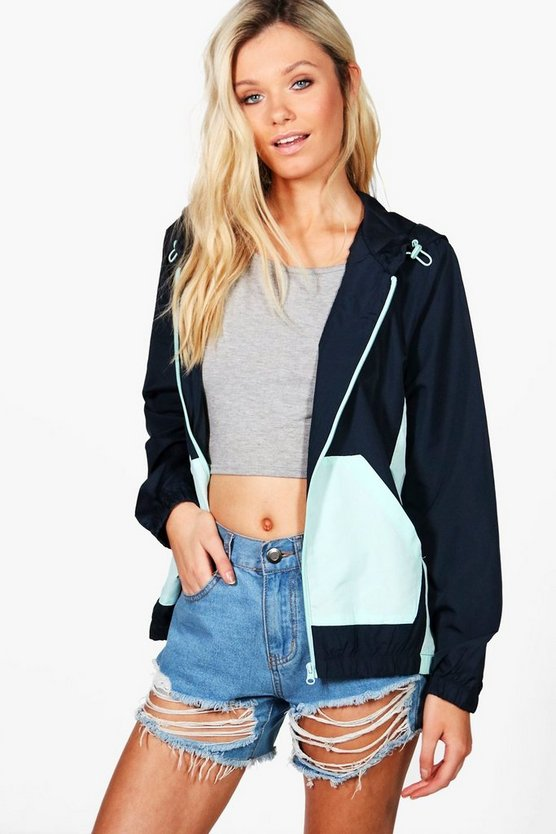 Womens Navy Cara Colour Block Rain Mac