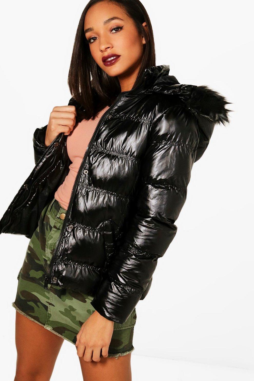 Padded Jacket With Detachable Hood Boohoo