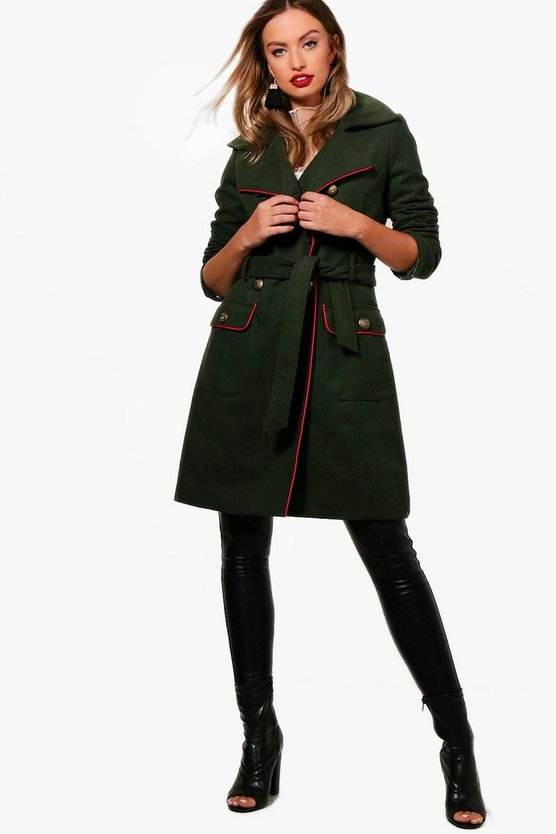 Wool Look Belted Military Coat