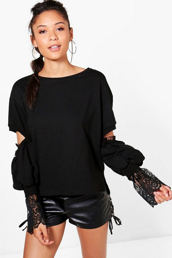 Isabelle Lace Cut Out Sleeve Sweat