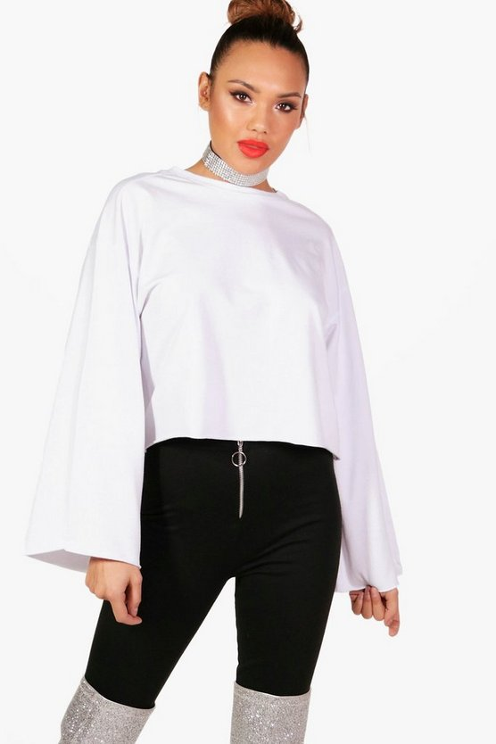 Oversized Wide Sleeve Sweatshirt, White, Donna