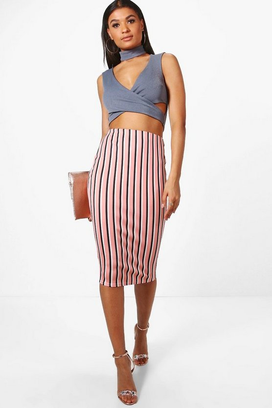 Rosie Candy Stripe Midi Skirt