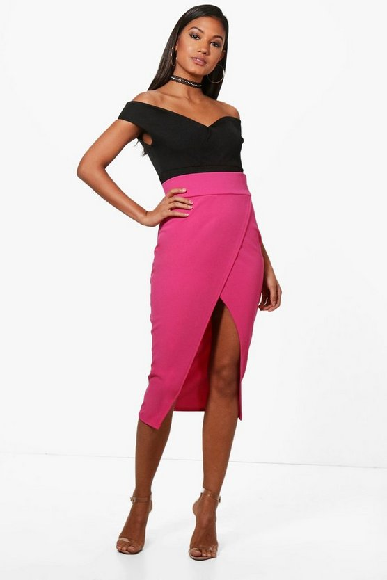 Niamh Wrap Front High Waist Midi Skirt