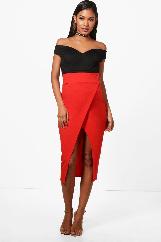 Niamh Wrap Front High Waist Midi Skirt