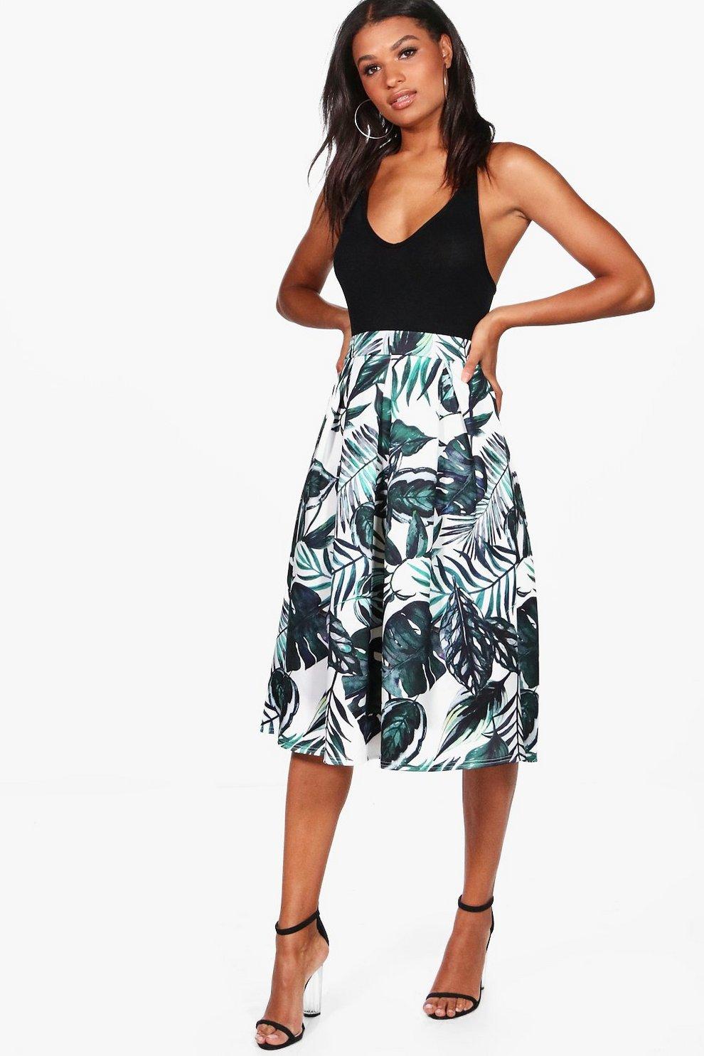 c3972b6f44 Raya Palm Print Box Pleat Midi Skirt | Boohoo