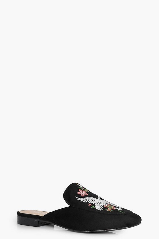 Lauren Embroidered Loafer Mule