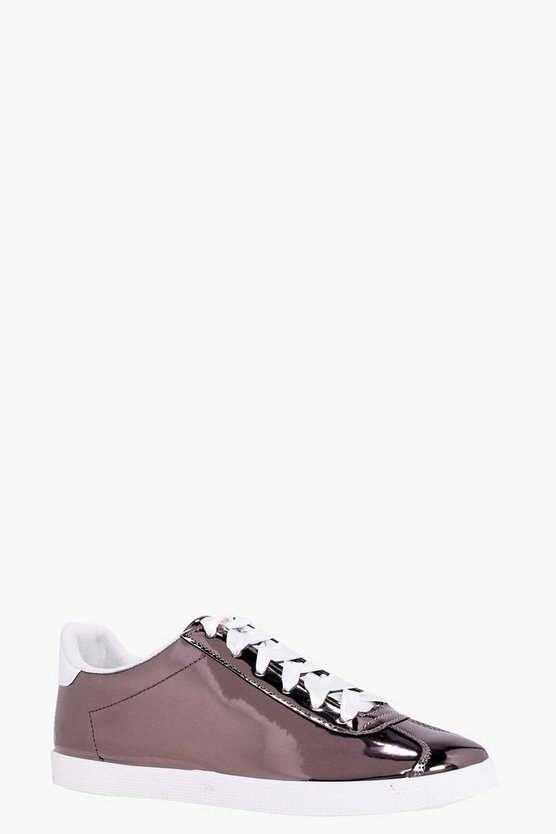 Abbie Metallic Ribbon Lace Trainers