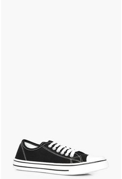 Womens Black Lace Up Canvas Pumps